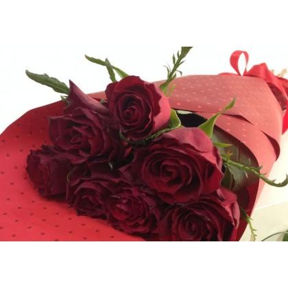 Букет от 7 бр. червени рози от www.cvetarski.com
