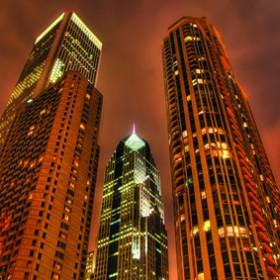 картина - нощни небостъргачи