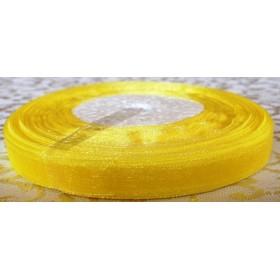 Тънка панделка органза - жълта 1см