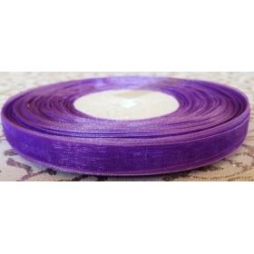 Тънка панделка органза - лилава 1см