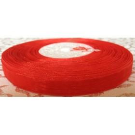 Тънка панделка органза - червена 1см