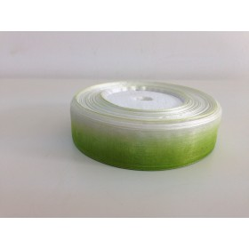 Панделка Органза Двуцветна - бяло и зелено