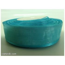 Панделка Органза - морско синьо