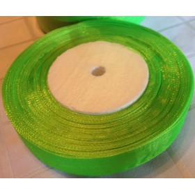 Панделка органза - неон зелено