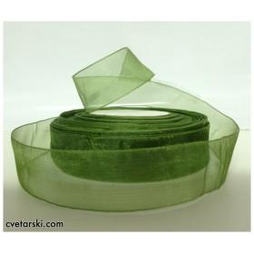 Панделка Органза - тъмно зелена