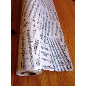 Крафт хартия - Ноти - Бяло