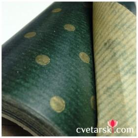 Крафт хартия -  зелено на точки