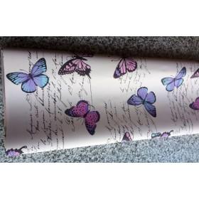 Хартия - двустранна - лилави и цикламени пеперуди с надписи