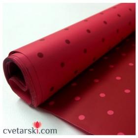 Хартия - двустранна - бордо с червени точки 50/50