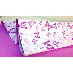 Хартия - двустранна - лилаво с бяло - пеперуди 50-50