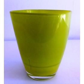 Кашпа цветно стъкло - зелена малка