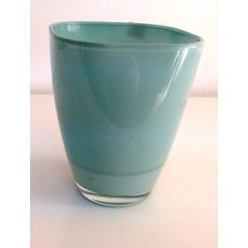 Кашпа цветно стъкло - синьо малка