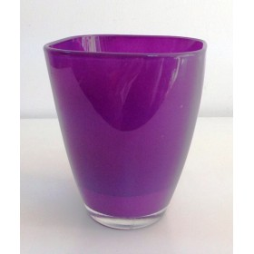Кашпа цветно стъкло - лилаво малка