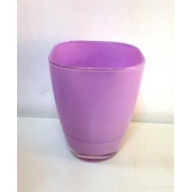 Кашпа цветно стъкло - розово малка